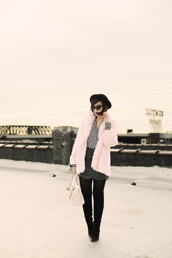 keiko lynn hat coat blouse skirt shoes bag sunglasses