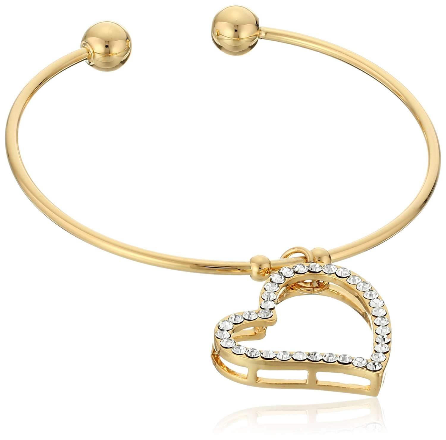 Brand new Amazon.com: Yellow Gold Plated Open Bangle Bracelet with White  LP57