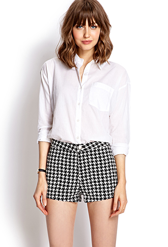 High-Waisted Houndstooth Shorts | FOREVER 21 - 2000126399