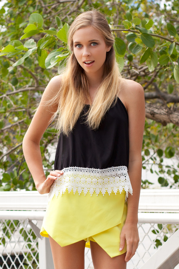 shorts skorts yellow lime cute top black white lace crochet blouse