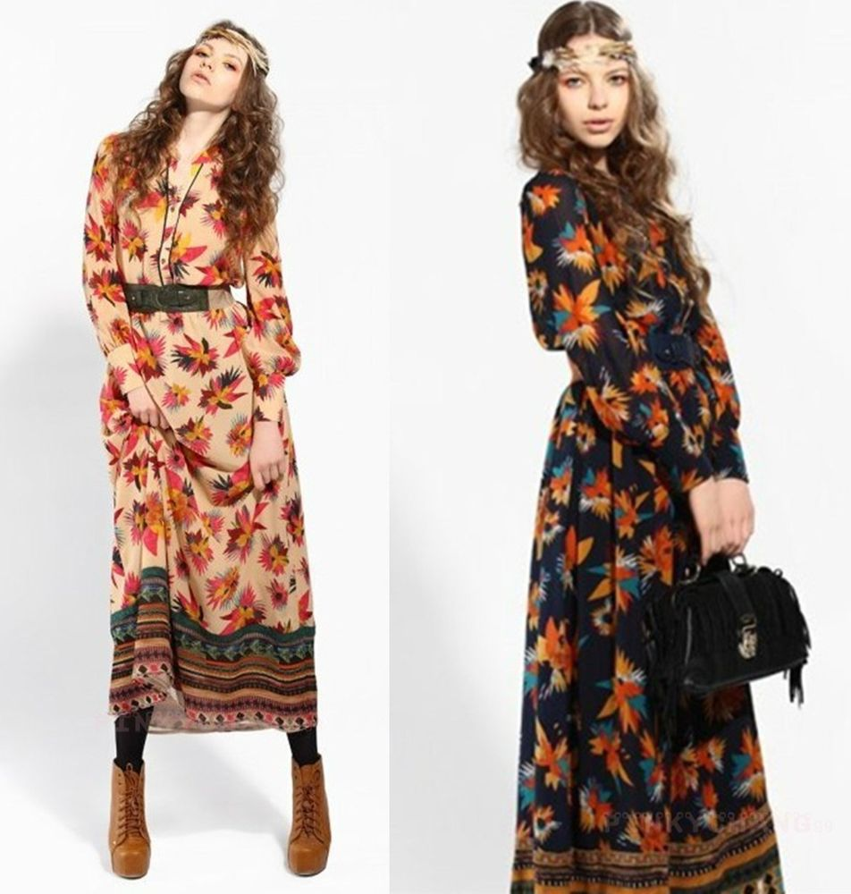 Bohemian Floral Print Long Sleeve Dress Maxi Dress With