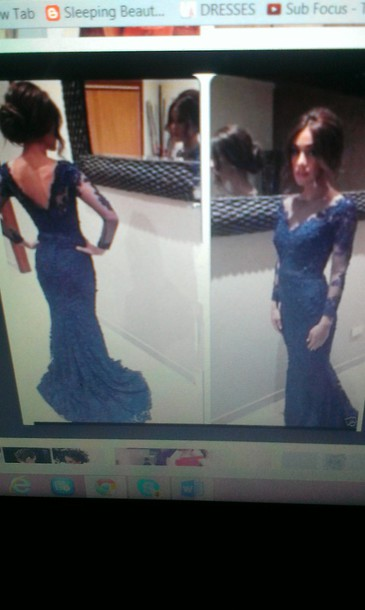 dress navy dress prom dress prom gown long prom dress lace dress sleeves