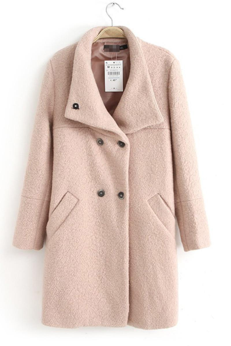 Pink Double-breasted Woolen Overcoat,Cheap in Wendybox.com