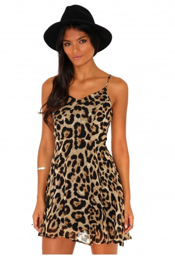 Regina Animal Print Strappy Skater Dress - Dresses - Missguided