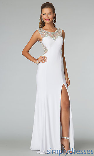 Sheer Back High Neck Gown JVN by Jovani - SimplyDresses