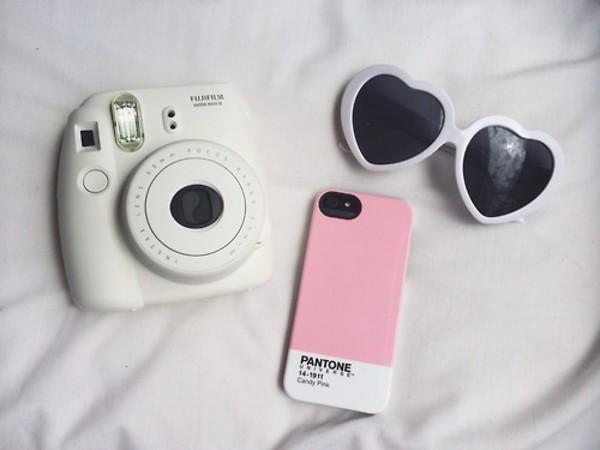 sunglasses camera white camera heart sunglasses phone cover pink white case