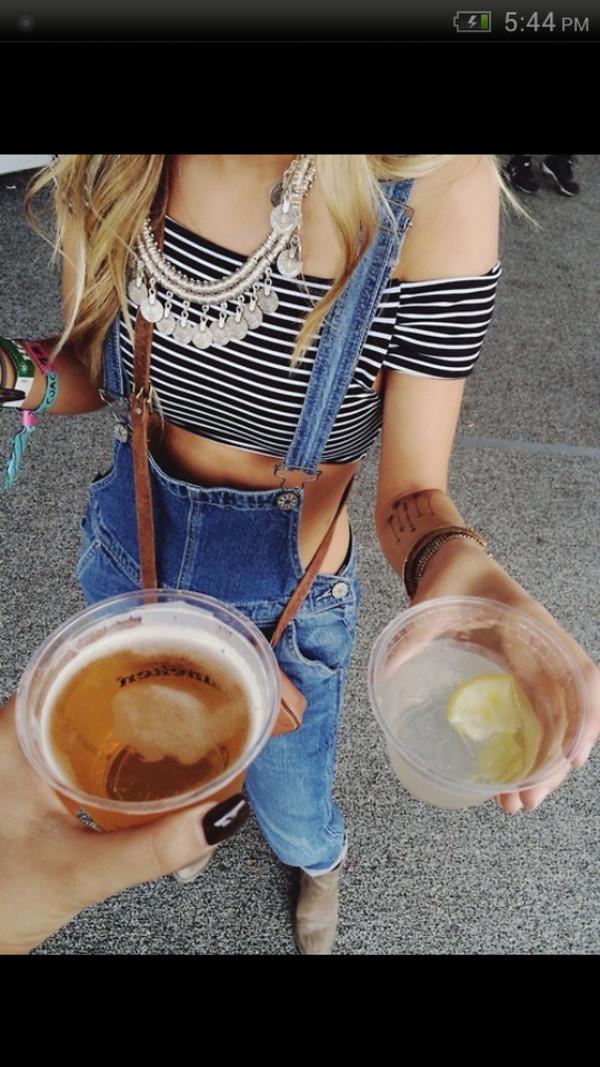jeans overalls crop tops necklace