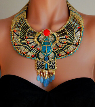 jewels jewelry indian bohemian boho collier necklace high neck blue red gold frumoasa_mea@hotmail.fr multicolor