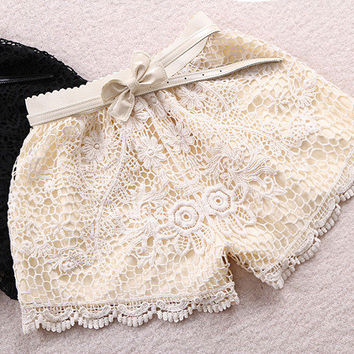Lace shorts with crochet edge and bow waist [248] on Wanelo