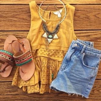 top sandals yellow top cute sandals shirt mustard boho shirt boho