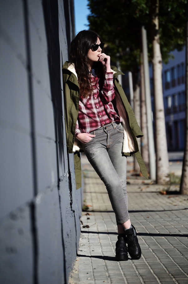 views by laura shoes coat shirt jeans sunglasses