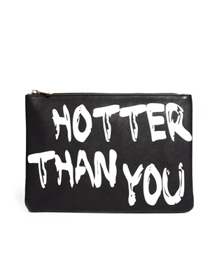 ASOS | ASOS Clutch Bag With 'Hotter Than You' Slogan at ASOS