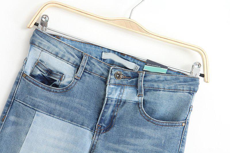Blue Slim Bleached Denim Pant - Sheinside.com