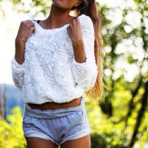 shorts sweater blouse gym shorts white rose sweater t-shirt white flowers white white flowers sweater roses top 3d roses crop tops chiffon top floral top fashion blogger white top celebrity style celebrity style steal grey fabric ruffle pullover rose shirt white shirt crop