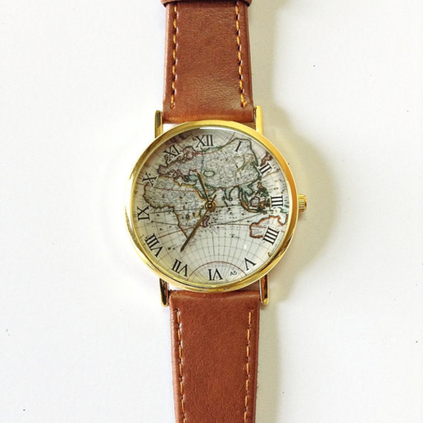 jewels map watch watch watch vintage style leather watch freeforme jewelry fashion accessories blogger map print