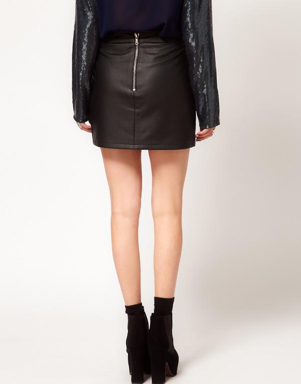 Zipper decoration black leather motorcycle leather skirt oblique zipper decoration irregular leather skirt xs~xxl women girl-inSkirts from Apparel & Accessories on Aliexpress.com