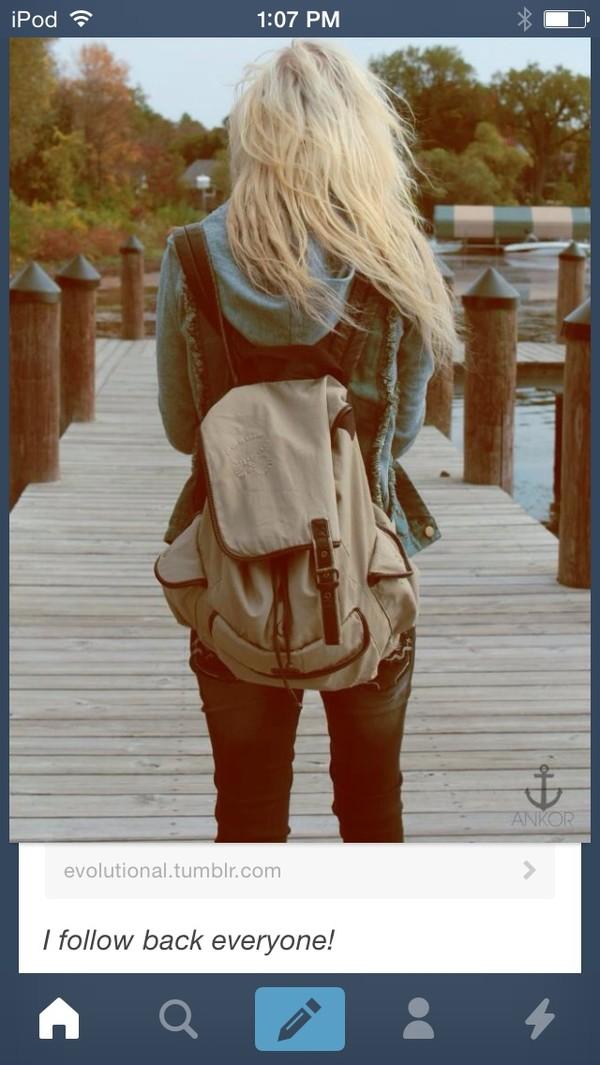 bag white canvas backpack buckles backpack off-white brown bag white bag