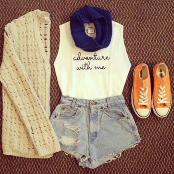 shirt tank top blue orange converse converse cardigan