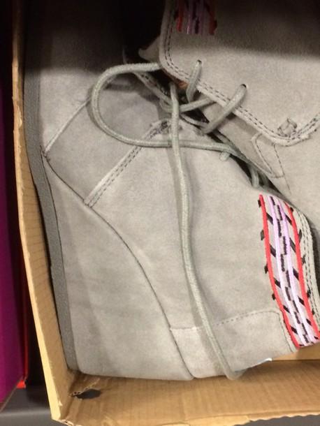 shoes grey wedges heels booties