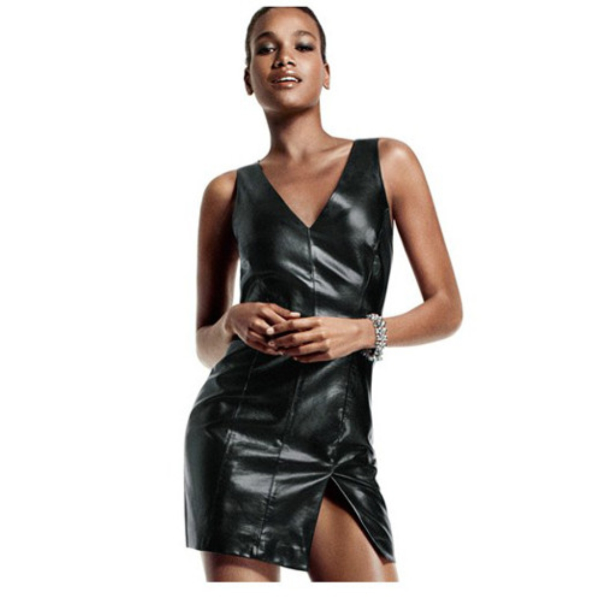 PU Leather V Neck Slim Sleeveless One-Piece Dress,Cheap in Wendybox.com