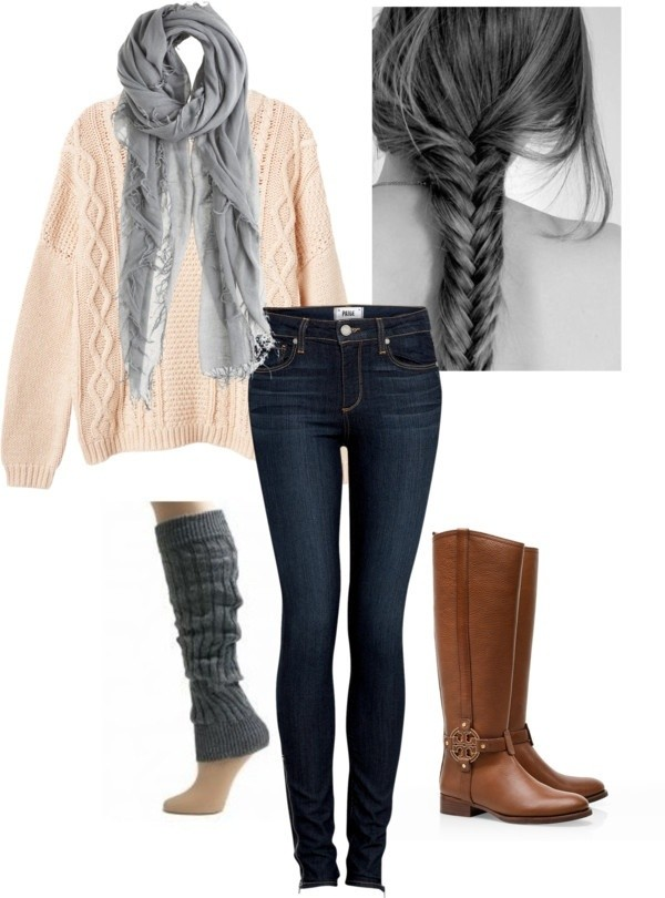 sweater boots jeans scarf shoes pink sweater outfit