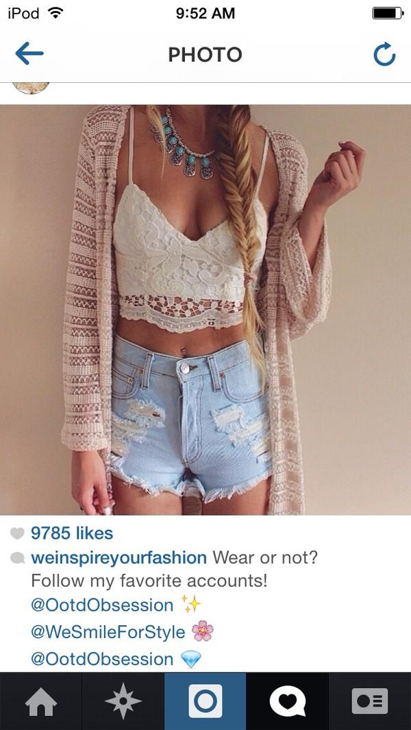 cardigan top shorts