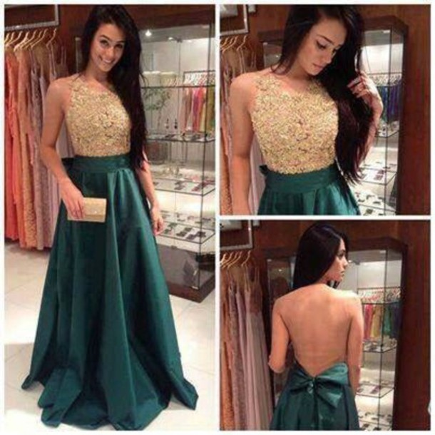 dress green dress gold sequins open back prom dress Bow Back Dress long prom dress prom gold prom dress sexy prom dres