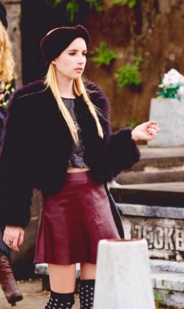 faux fur emma roberts skirt leather skirt burgundy skirt winter outfits turban plum coat