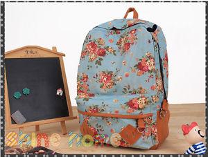 Women Girl Vintage Floral Flower Canvas Bag Schoolbag Backpack Bookbag Blue   eBay