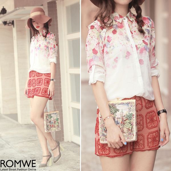 ROMWE   Floral Print Gradient White Shirt, The Latest Street Fashion