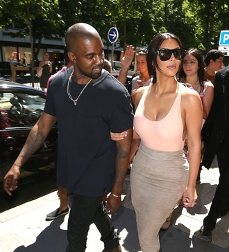top kim kardashian kayne west celebrity style style summer outfits fashion gorgeous pink thin cleavage bones heels ankle boots high heel celebrity heels