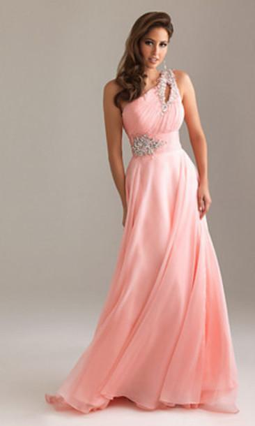 dress prom dress one shoulder pink dress elegant dress ball gown dress