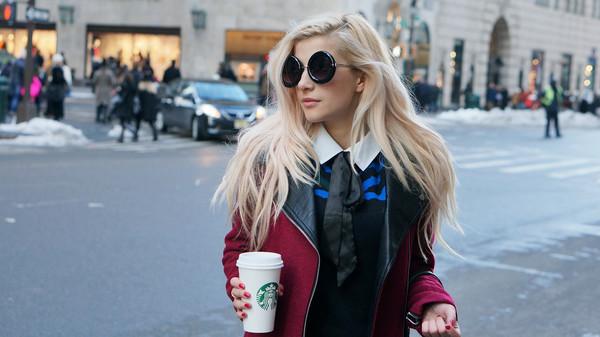 evelinas fashion cafe sweater coat pants shoes bag sunglasses t-shirt