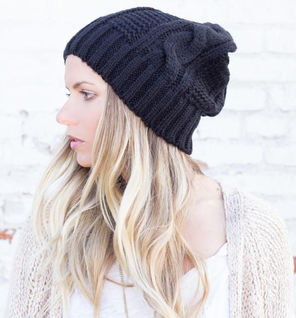hat beanie slouchy black knit knitwear boho bohemian