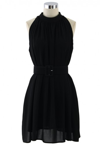 Ethereal Belted Chiffon Dress in Black  - Retro, Indie and Unique Fashion