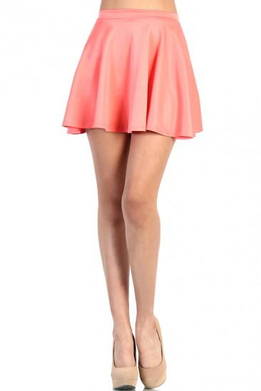 LoveMelrose.com From Harry & Molly   Cute Skater Skirt - Coral