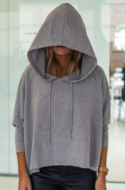 top oversized hoodie cropped sweater grey sweater cropped hoodie