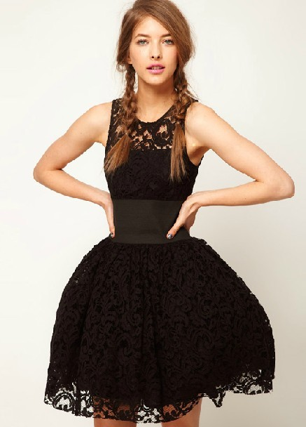 Black Sleeveless Hollow Lace Flare Dress - Sheinside.com