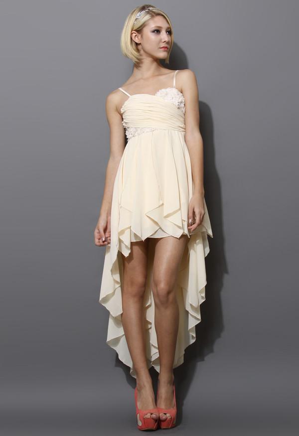 dress cream 3d flowers asymmetrical waterfall prom dress