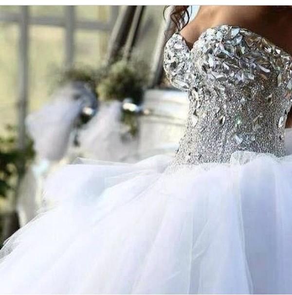 dress white dress fluffy rhinstones cute dress