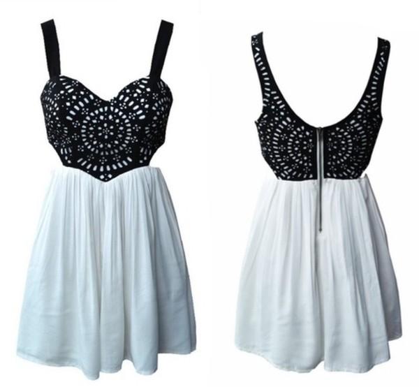 dress black lace white