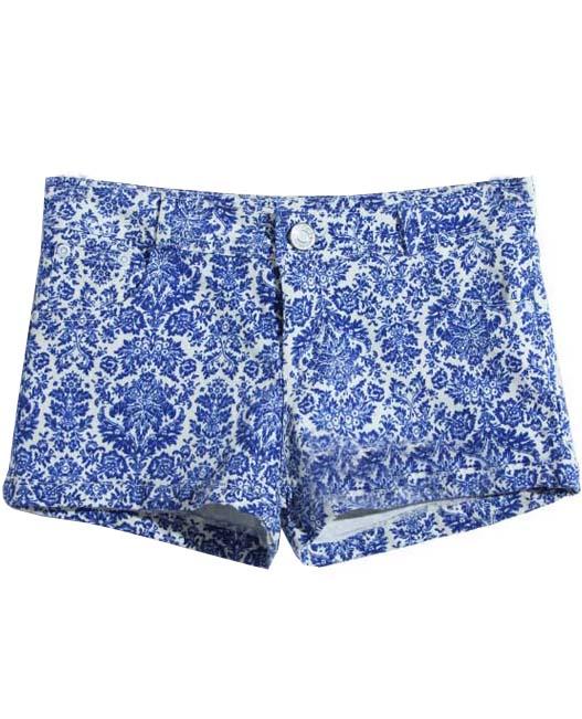 Blue Low Waist Porcelain Print Buttons Shorts - Sheinside.com