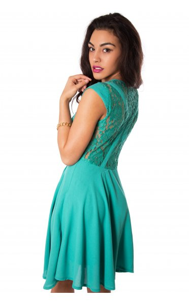 Teal/Turquoise Party Dress - Green Skater Dress with Sheer | UsTrendy