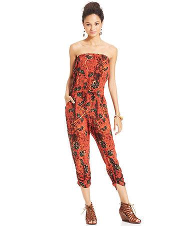American Rag Strapless Tie-Dye-Print Jumpsuit - Juniors Pants & Leggings - Macy's