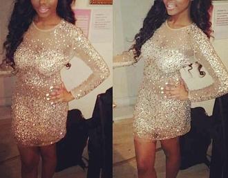 dress mesh jewels glitter dress nude glitzy long sleeve dress mini dress celebrity style party dress crystal details embellished