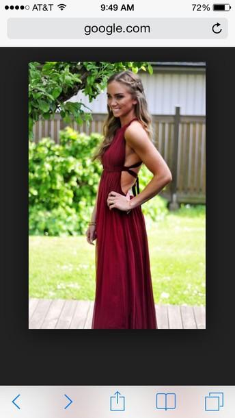 dress wine backless long dress
