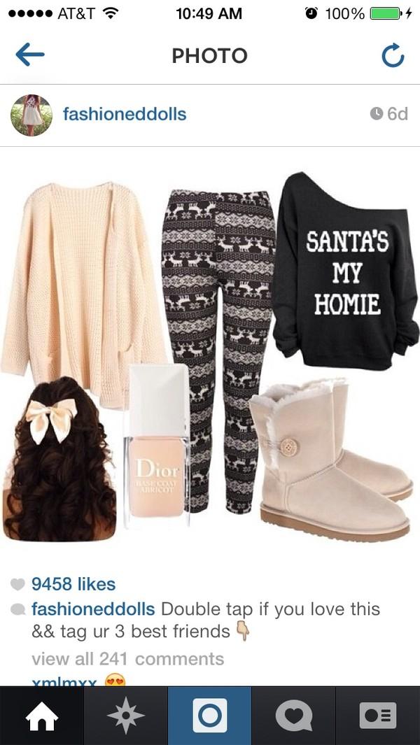 pants sweater christmas leggings christmas sweater homies santa claus