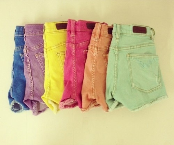 shorts colorful hot pants high waisted mint purple orange pink yellow blue girly blue dress
