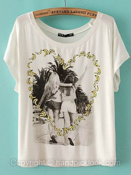 White Round Neck Short Sleeve Beauty Print T-Shirt - HandpickLook.com