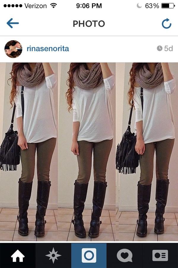 pants scarf shirt shoes